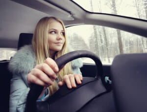 blonde behind the wheel