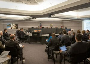 California Energy Commissionのオフィス。今回は満場一致でPVパネル義務化の法案が可決された。