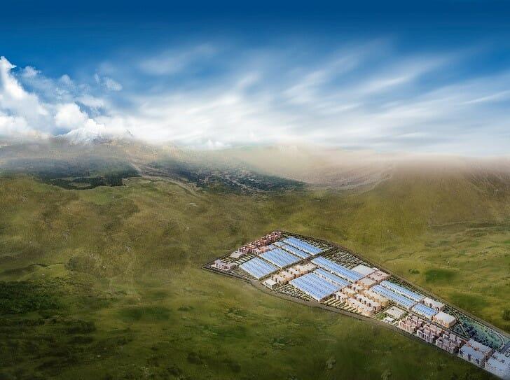 BYDが中国西奥部「青海省(Qinghai Province)」に建設予定のEV用電池工場の想像図。BYDのサイトより転載。