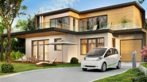 Modern house and electric car
