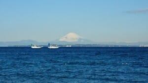 冬の房総半島から見る富士山