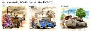 昔の馬の「アレ」による汚染、現在の排ガスによる汚染を引き合いに出し、未来に「人類は果たして汚染からは解き放たれるか?」を描いたイラスト。T&Eのサイトより転載。