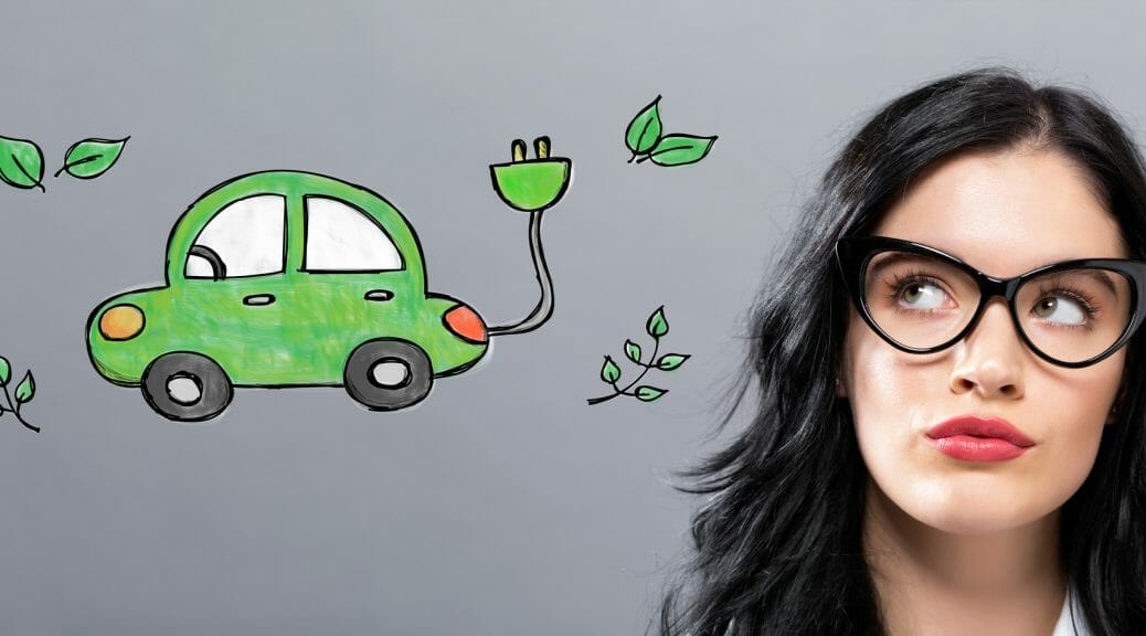 EV illustration with a businesswoman