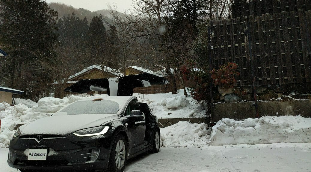 テスラモデルXで冬の長距離:東京-水上(みなかみ)