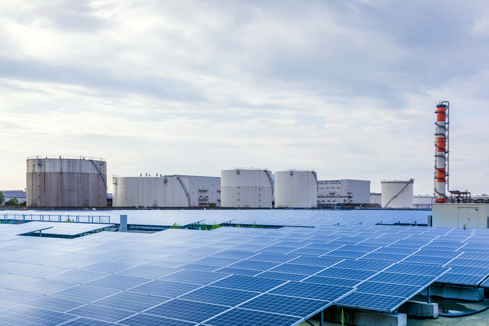 industrial buildings and solar panels