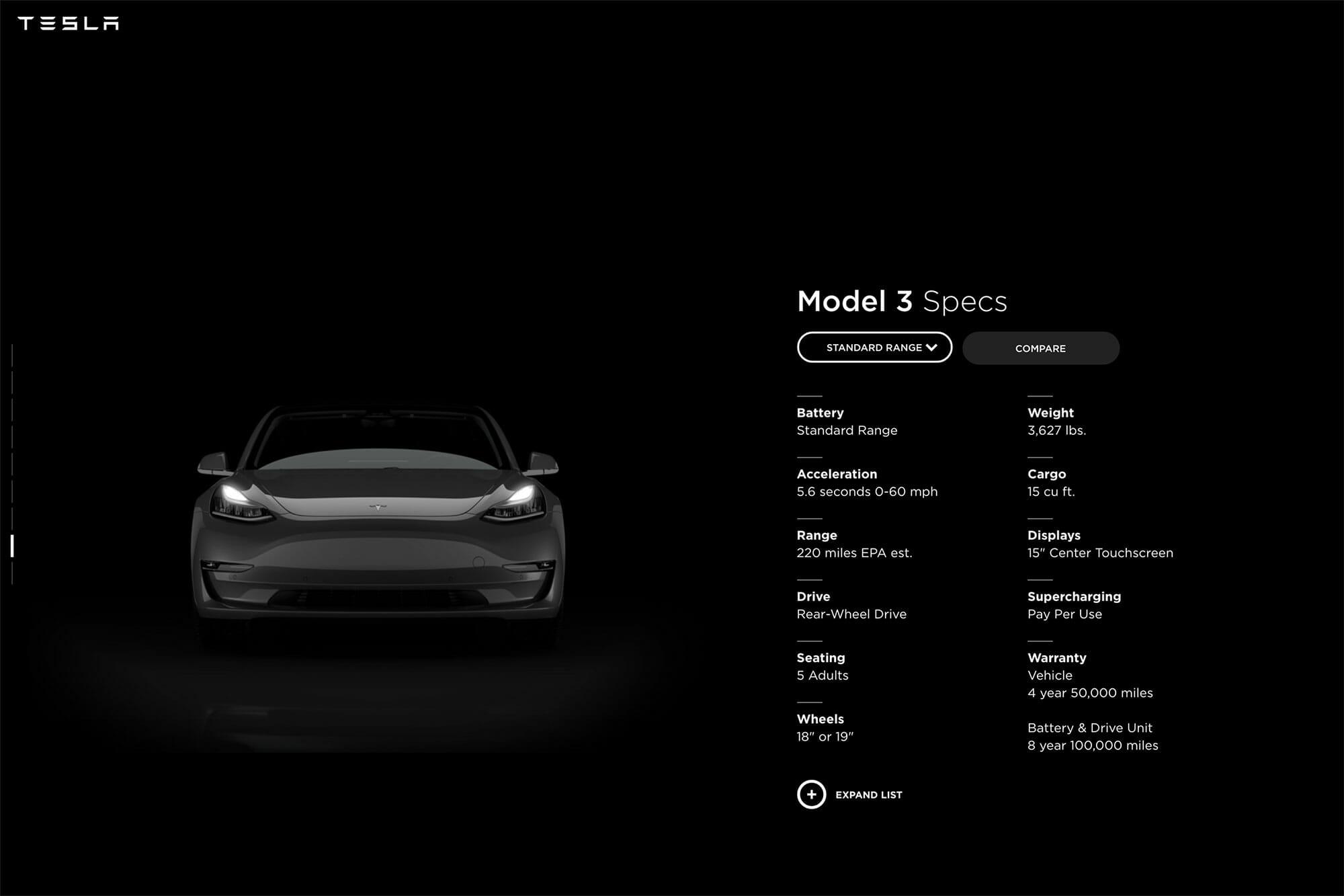 tesla model3 standard