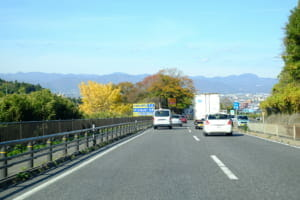 南から福島盆地を望む。正面(中央)の木に半分隠れているが、トラックの上に見える山が福島市のシンボル「信夫山」。右前方に市街地が見える。左の黄葉している木の向こうの辺りに、福島市近郊の飯坂温泉がある。