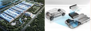 工場とバッテリー・モジュールの想像図。エバーグランデの公式サイトより転載。