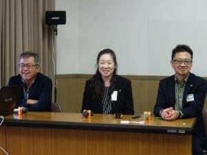 左から三菱自動車の百瀬さん、日産自動車の小塚さんと佐々木さん。世界の市販EVの専門家が、参加者の質問に答える、世界的にも最先端のEV経験がここに!