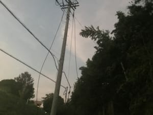 The high-voltage power distribution line with 6,600V.