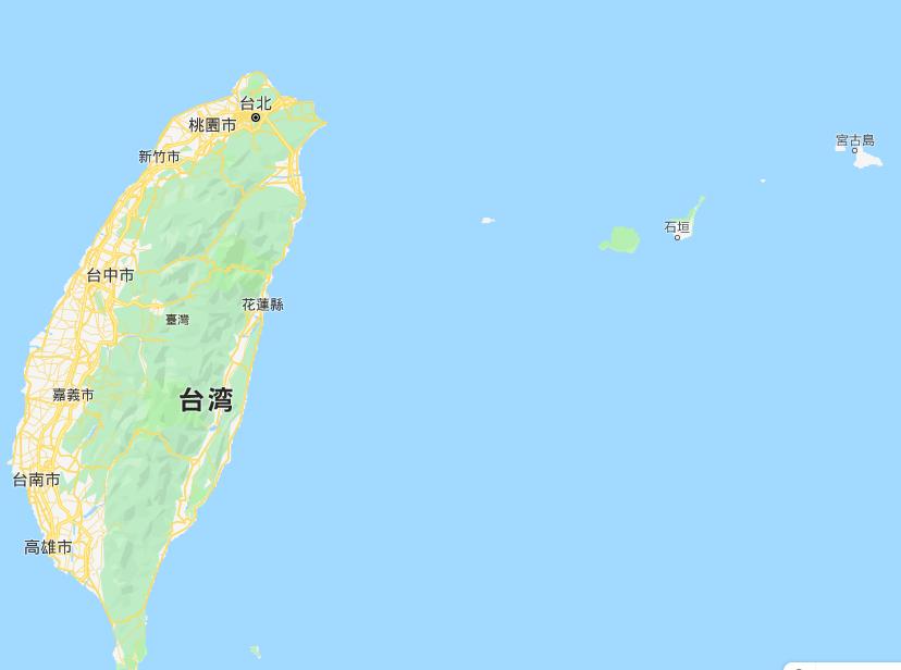 台湾の地図。今回のコンボイ走行が行われた苗栗県は、西岸の「台中市」のすぐ上の辺り。台湾の西岸だ。なお、右の海中に沖縄県の石垣島と宮古島が見える。台湾は沖縄の「お隣さん」だ。