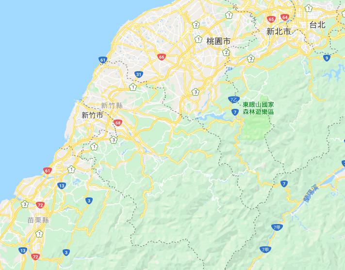 台湾北西岸の拡大図。右上に首都の台北が見える。実験の現場は、この地図の左下、「13」と「72」の道路番号が見えるが、「13」の辺りが現場だ。台湾北西岸の拡大図。右上に首都の台北が見える。実験の現場は、この地図の左下、「13」と「72」の道路番号が見えるが、「13」の辺りが現場だ。