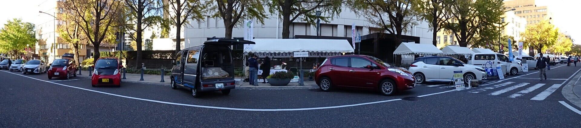 「神奈川県エコカー試乗会!in 日本大通り(2018/11/25)」のようす。
