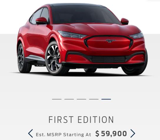 発表後10日あまりで予約完売したファーストエディション。専用のボディーカラーに加え、真っ赤なブレーキキャリパーが目を惹く。フォードモーターの公式サイトより転載。