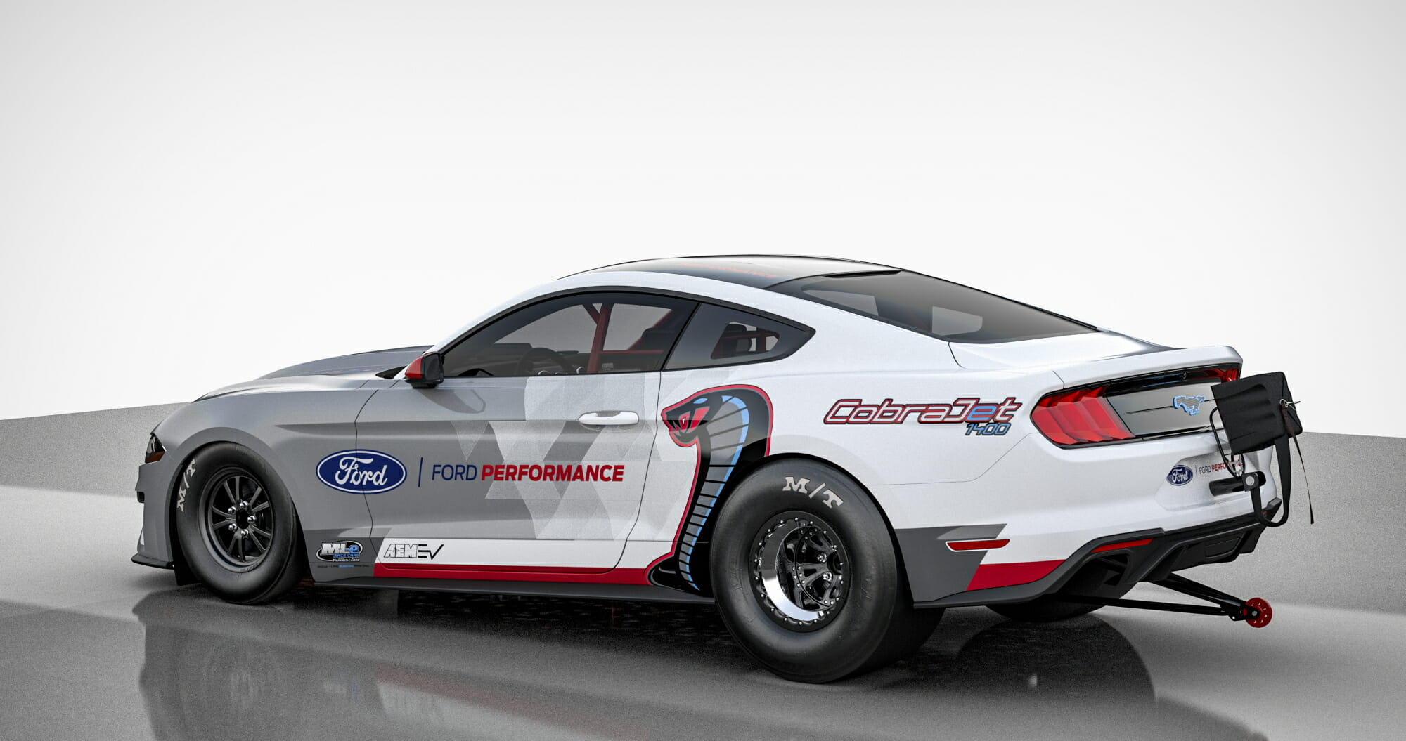 The battery-powered Mustang Cobra Jet 1400 prototype is purpose-built and projected to deliver over 1,400 horsepower and over 1,100 ft.-lbs. of instant torque to demonstrate the capabilities of an electric powertrain in one of the most demanding race environments.