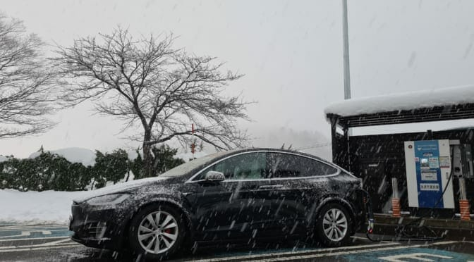 石川県から東京まで644km: テスラ モデルXで冬の長距離ドライブ