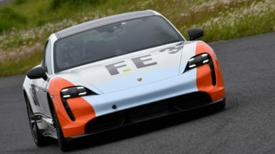 Restricted power issues for Porsche Taycan at EV race series JEVRA